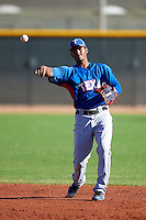 Texas Rangers minor league infielder Alberto Triunfel #3 during an instructional league game against a Korean All-Star team at the Surprise Stadium Complex on October 13, 2012 in Surprise, Arizona.  (Mike Janes/Four Seam Images)
