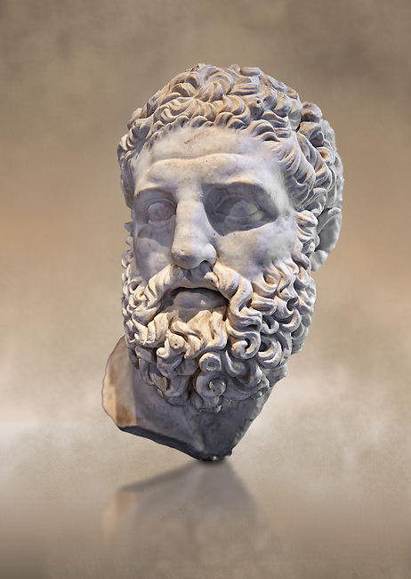 Roman sculpture head of Hercules, mid 2nd cent AD excavated from the Vale Giardino, Nemi. The head was probably made separately for the insertion onto a statue, probably depicting the gold seated. The work is a copy of a Greek original of the late Hellenistic period, inspired by a statue by the Greek sculptor Lysippos of Sicyon known as the 'Herakles Epitapezios' sculpted around 300 BC. The National Roman Museum, Rome, Italy