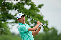 6th June 2021; Dublin, Ohio, USA;  Collin Morikawa (USA) watches his tee shot on 5 during the final round of the Memorial Tournament at Muirfield Village Golf Club in Dublin, Ohio