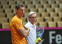 13 April, 2016, France, Trélazé, Arena Loire,   Semifinal FedCup, France-Netherlands, Dutch team practise, doubles,  coach Martin Bohm (R) and captain Paul Haarhuis <br /> Photo: Henk Koster/tennisimages