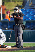 Umpire Dexter Kelley during a game between the Mahoning Valley Scrappers and Auburn Doubledays on June 19, 2016 at Falcon Park in Auburn, New York.  Mahoning Valley defeated Auburn .  (Mike Janes/Four Seam Images)