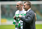 Celtic v St Johnstone…25.01.17     SPFL    Celtic Park<br />Scott Brown gets a commemorative shirt from Brendan Rogers before making his 400th appearance for Celtic<br />Picture by Graeme Hart.<br />Copyright Perthshire Picture Agency<br />Tel: 01738 623350  Mobile: 07990 594431