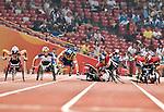 Big crash in the women' s 5000 m t54 bell lap.<br /> - Photo Benoit Pelosse-CPC