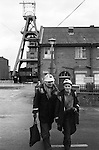 Snowdown Colliery Kent. Miners coing off shift work. Pithead. 1970s UK<br /> <br /> L - R. Unknown and Jack Hawkins.<br /> <br /> Caption names thanks to Darran Cowd<br /> Museum & Heritage Manager, Betteshanger Sustainable Parks,
