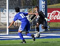 NWA Democrat-Gazette/CHARLIE KAIJO Rogers High School goalkeeper Anthony Garcia (42) blocks during a soccer game, Friday, April 26, 2019 at  Whitey Smith Stadium at Rogers High School in Rogers.