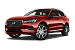 Stock pictures of low aggressive front three quarter view of 2018 Volvo XC60-Hybride-Rechargeable Inscription-4wd 5 Door SUV Low Aggressive