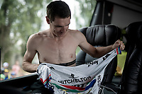 Daryl Impey (ZAF/Mitchelton-Scott) prepping for a hard race ahead<br /> <br /> Stage 6: Mulhouse to La Planche des Belles Filles (157km)<br /> 106th Tour de France 2019 (2.UWT)<br /> <br /> ©kramon
