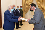Palestinian President Mahmoud Abbas, receives the Credentials of the Ambassador of the Republic of Malta to Palestine, in the West Bank city of Ramallah, on March 10, 2021. Photo by Thaer Ganaim