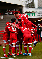 10th January 2021; Broadfield Stadium, Crawley, Sussex, England; English FA Cup Football, Crawley Town versus Leeds United; Jordan Tunnicliffe of Crawley scores for 3-0 in the 70th minute and celebrates with team mates
