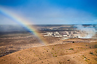 Rainbow over actively erupting Halema'uma'u Crater, Hawai'i Volcanoes National Park, Kilauea, Big Island.