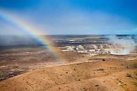 Rainbow over actively erupting Halema'uma'u Crater, Hawai'i Volcanoes National Park, Kilauea, Big Island.