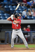Great Lakes Loons designated hitter Kyle Farmer (8) at bat during a game against the West Michigan Whitecaps on June 4, 2014 at Fifth Third Ballpark in Comstock Park, Michigan.  West Michigan defeated Great Lakes 4-1.  (Mike Janes/Four Seam Images)