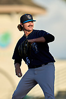 Tampa Tarpons pitcher Blane Abeyta (16) during Game Two of the Low-A Southeast Championship Series against the Bradenton Marauders on September 22, 2021 at LECOM Park in Bradenton, Florida.  (Mike Janes/Four Seam Images)