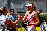 Svetlana Kuznetsova and Maria Sharapova from Russia after Madrid Open tennis tournament match in Madrid, Spain. May 08, 2015. (ALTERPHOTOS/Victor Blanco)