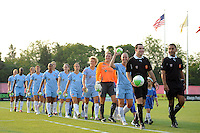 Sky Blue FC players enter the field for pre-game introductions. Sky Blue FC and the Washington Freedom played to a 0-0 tie during a Women's Professional Soccer (WPS) match at Yurcak Field in Piscataway, NJ, on July 7, 2010.