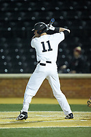 Shane Muntz (11) of the Wake Forest Demon Deacons at bat against the Florida State Seminoles at David F. Couch Ballpark on March 9, 2018 in  Winston-Salem, North Carolina.  The Seminoles defeated the Demon Deacons 7-3.  (Brian Westerholt/Four Seam Images)