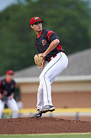 Batavia Muckdogs starting pitcher Sam Perez (44) delivers a pitch during a game against the Tri-City ValleyCats on July 14, 2017 at Dwyer Stadium in Batavia, New York.  Batavia defeated Tri-City 8-4.  (Mike Janes/Four Seam Images)