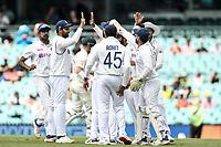 7th January 2021; Sydney Cricket Ground, Sydney, New South Wales, Australia; International Test Cricket, Third Test Day One, Australia versus India; India celebrate the opening wicket of David Warner of Australia
