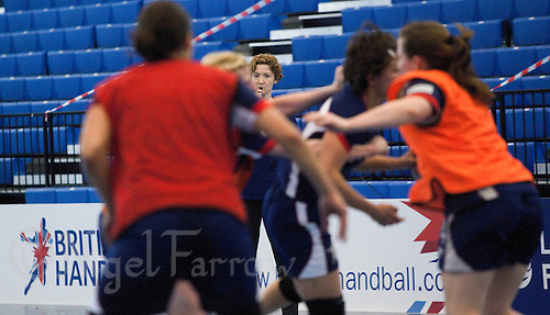 06 APR 2012 - LONDON, GBR - Great Britain's assistant coach Vigdis Holmeset (centre) watches her players during a team training session at the National Sports Centre in Crystal Palace, Great Britain .(PHOTO (C) 2012 NIGEL FARROW)