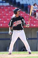 Tim Lopes #3 of the High Desert Mavericks bats against the Rancho Cucamonga Quakes at Stater Bros. Stadium on May 27, 2014 in Adelanto, California. High Desert defeated Rancho Cucamonga, 5-4. (Larry Goren/Four Seam Images)