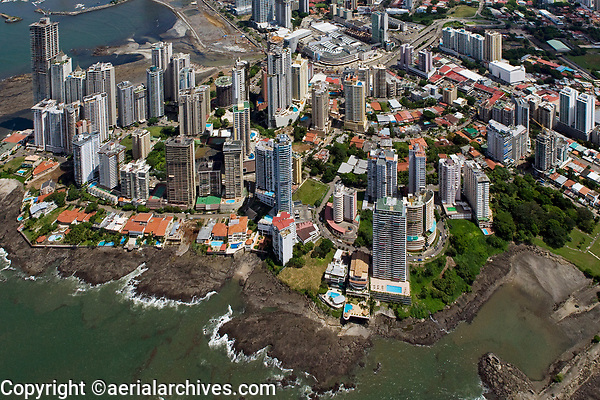 aerial photograph of Punta Patilla residential high rise towers, Panama City, Panama, the Megapolis Outlets Panama in the center background | fotografía aérea de las torres residenciales de gran altura de Punta Patilla, Panamá