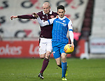 Hearts v St Johnstone…03.02.18…  Tynecastle…  SPFL<br />Scott Tanser holds off Steven Naismith<br />Picture by Graeme Hart. <br />Copyright Perthshire Picture Agency<br />Tel: 01738 623350  Mobile: 07990 594431