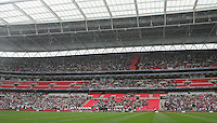The teams line up in front of the main stand - Kidderminster Harriers vs Stevenage Borough - FA Carlsberg Trophy Final at Wembley Stadium - 12/05/07 - MANDATORY CREDIT: TGSPHOTO - IMAGES USED WILL BE INVOICED AT STANDARD RATES