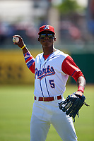 Stockton Ports outfielder Dairon Blanco (5) warms up before a California League game against the Rancho Cucamonga Quakes at Banner Island Ballpark on May 17, 2018 in Stockton, California. Stockton defeated Rancho Cucamonga 2-1. (Zachary Lucy/Four Seam Images)