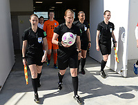 20190301 - LARNACA , CYPRUS : referees pictured with assistant referee Sian Massey ,  Esther Staubli , Cypriotic referee Androula Saitti Mouhtari and assistant referee Susanne Kung during a women's soccer game between Finland and Czech Republic , on Friday 1 March 2019 at the AEK Arena in Larnaca , Cyprus . This is the second game in group A for Both teams during the Cyprus Womens Cup 2019 , a prestigious women soccer tournament as a preparation on the Uefa Women's Euro 2021 qualification duels. PHOTO SPORTPIX.BE   DAVID CATRY