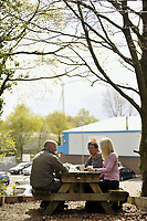 DS Smith Packaging, Crumlin, Newport, which has won a Green Space Business Award.<br /> Staff enjoy a cup of tea in the woodland area.