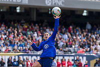 CHICAGO, IL - OCTOBER 5: Tobin Heath #17 of the United States catches the ball at Soldier Field on October 5, 2019 in Chicago, Illinois.