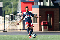 FOXBOROUGH, MA - JULY 25: USL League One (United Soccer League) match. Collin Verfurth #35 of New England Revolution II passes the ball during a game between Union Omaha and New England Revolution II at Gillette Stadium on July 25, 2020 in Foxborough, Massachusetts.