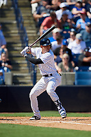 New York Yankees third baseman Angel Aguilar (89) at bat during a Grapefruit League Spring Training game against the Toronto Blue Jays on February 25, 2019 at George M. Steinbrenner Field in Tampa, Florida.  Yankees defeated the Blue Jays 3-0.  (Mike Janes/Four Seam Images)