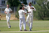 Gidea Park players celebrate taking the wicket of Paresh Kalley during Oakfield Parkonians CC (batting) vs Gidea Park and Romford CC, Hamro Foundation Essex League Cricket at Oakfield Playing Fields on 17th July 2021