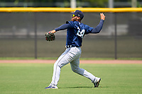 FCL Tigers East outfielder Jose De La Cruz (24) during practice before a game against the FCL Yankees on July 27, 2021 at the Yankees Minor League Complex in Tampa, Florida. (Mike Janes/Four Seam Images)