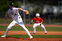 Pitcher Micah Takac (14) during the Perfect Game National Underclass East Showcase on January 23, 2021 at Baseball City in St. Petersburg, Florida.  (Mike Janes/Four Seam Images)