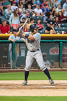 Steve Baron (24) of the Tacoma Rainiers at bat against the Salt Lake Bees in Pacific Coast League action at Smith's Ballpark on August 31, 2015 in Salt Lake City, Utah. Salt Lake defeated Tacoma 6-5.  (Stephen Smith/Four Seam Images)
