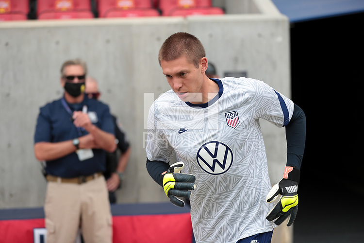 SANDY, UT - JUNE 10: Ethan Horvath #12 of the United States warming up before a game between Costa Rica and USMNT at Rio Tinto Stadium on June 10, 2021 in Sandy, Utah.