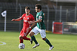 22.11.2020, Dietmar-Scholze-Stadion an der Lohmuehle, Luebeck, GER, 3. Liga, VfB Luebeck vs FC Bayern Muenchen II <br /> <br /> im Bild / picture shows <br /> Nicolas Kühn/Kuehn (FC Bayern Muenchen II) im Zweikampf gegen Mirko Boland (VfB Luebeck) <br /> <br /> DFB REGULATIONS PROHIBIT ANY USE OF PHOTOGRAPHS AS IMAGE SEQUENCES AND/OR QUASI-VIDEO.<br /> <br /> Foto © nordphoto / Tauchnitz