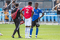 SAN JOSE, CA - APRIL 24: Eddie Munjoma #2 of FC Dallas catches up with Siad Haji #19 of the San Jose Earthquakes after a game between FC Dallas and San Jose Earthquakes at PayPal Park on April 24, 2021 in San Jose, California.