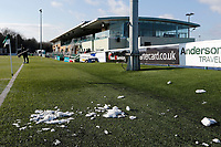 A general view of the remnants of snow during the Championship Cup Quarter Final match between Ealing Trailfinders and Nottingham Rugby at Castle Bar , West Ealing , England  on 2 February 2019. Photo by Carlton Myrie / PRiME Media Images.