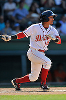 Shortstop Jeremy Rivera (35) of the Greenville Drive bats in a game against the Augusta GreenJackets on Sunday, June 12, 2016, at Fluor Field at the West End in Greenville, South Carolina. Greenville won, 11-8. (Tom Priddy/Four Seam Images)