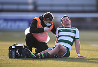 20th February 2021; Trailfinders Sports Club, London, England; Trailfinders Challenge Cup Rugby, Ealing Trailfinders versus Doncaster Knights; Luke Daniels of Ealing Trailfinders lies injured on the pitch