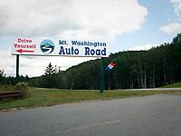 USA, Neuengland, Mount Washington Auto Road, 04.09.2010<br /> <br /> <br /> Engl.: USA, New England, Mount Washington Auto Road, sign, 04 September 2010
