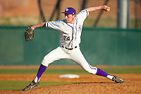 High Point Panthers relief pitcher Jeremy Johnson (14) delivers a pitch to the plate against the Bowling Green Falcons at Willard Stadium on March 9, 2014 in High Point, North Carolina.  The Falcons defeated the Panthers 7-4.  (Brian Westerholt/Four Seam Images)