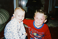 Pictured: James Bowen 18 months old and brother Sean, 4. Wednesday 10 January 2018<br /> Re: Peter Bower Racing in Little Newcastle, west Wales, UK.
