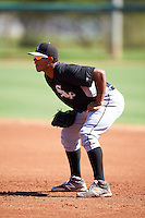 Chicago White Sox Harvin Mendoza (64) during an Instructional League game against the San Francisco Giants on October 10, 2016 at the Camelback Ranch Complex in Glendale, Arizona.  (Mike Janes/Four Seam Images)