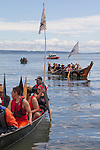 Canoe Journey, Paddle to Nisqually, 2016, Makah canoes, (front), Quinault canoes, landing, Port Townsend, Fort Worden, Olympic Peninsula, Puget Sound, Salish Sea, Washington State, USA,