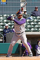 Matt Browning of James Madison University hitting in a game against UC Irvine at the Baseball at the Beach Tournament held at BB&T Coastal Field in Myrtle Beach, SC on February 28, 2010.