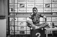 runner-up Fernando Gaviria (COL/Etixx-QuickStep) in the press tent after the race<br /> <br /> 101st Kampioenschap van Vlaanderen 2016 (UCI 1.1)<br /> Koolskamp › Koolskamp (192.4km)